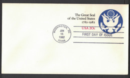 NB108    USA Postal Stationary 1982 FDC 20 Cent The Great Seal Of The United States - 1981-00
