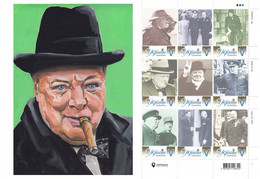 Ukraine 2021, England Politician Writer Winston Churchill, Sheetlet Of 9v - Ukraine