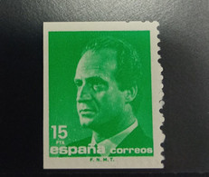 ESPAÑA.  EDIFIL  3004dw.  15 PTAS VERDE ESMERALDA S.M REY JUAN CARLOS I DENTADO PARCIAL. - 1981-90 Nuovi