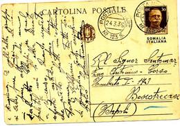 1936 GERRA D'AFRICA POSTA MILITARE 123 S SU CARTOLINA POSTALE SOVRASTAMPATA SOMALIA ITALIANA DA GORRAHEI - Somalia