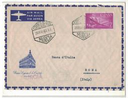 "NB111    Spain 1962 Fragment Of The Envelope ""Banco Espagnol De Credito"" Murcia To Italy - Correo Aereo - 1961-70 Storia Postale"