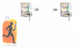 Aland FDC 2004 Olympic Games In Athens - In Gutter Pair (DD32-28) - Zomer 2004: Athene