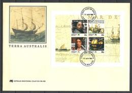 Australie Australia 1985 FDC Bloc 10 Terra Australis Navigateurs Colons - Fdc Grand Format - Primo Giorno D'emissione (FDC)