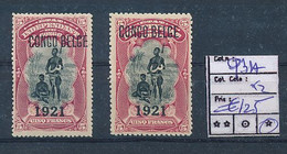 BELGIAN CONGO 1921 ISSUE SET COB 93A X2 ONE WITH MISPLACED OVERPRINT LH - 1894-1923 Mols: Ungebraucht