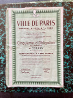 VILLE  De  PARIS  EMPRUNT  à  LOTS  4%  1930 -------- Cinquième  D' Obligation - Unclassified