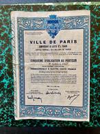 VILLE  De  PARIS  EMPRUNT  à  LOTS  3%  1948 -------- Cinquième  D' Obligation - Unclassified