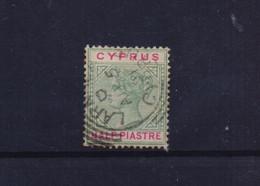 CYPRUS 1894/96 VICTORIA 1/2 PIASTRE USED STAMP WITH ERROR: BROKEN S - Cyprus (...-1960)