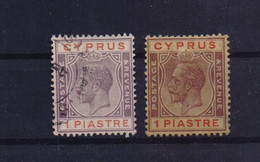 CYPRUS 1924/28 1 PIASTRE 2 USED STAMPS WITH CLEAR COLOR VARIATION - Cyprus (...-1960)