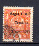 Trentin 1918, Tp Autriche Surchargé, Yv. 3. Ø, Cote 90,- € - Trentino