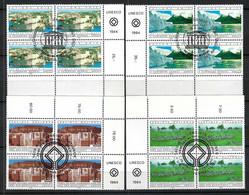 NATIONS UNIES Genève Et Vienne 1984: Timbres Sur Le Patrimoine Mondial De L' UNESCO, En Blocs De 4 BDF, Obl. CAD PJ - Gebraucht