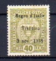 Trentin 1918, Tp Autriche Surchargé, 10*, Cote 80 € - Trentino