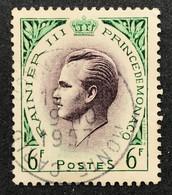 MCO0421U - Prince Rainier III - 6 F Used Stamp - Monaco - 1955 - Gebruikt