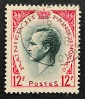 MCO0423U - Prince Rainier III - 12 F Used Stamp - Monaco - 1955 - Gebruikt