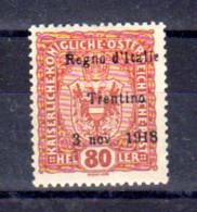 Trentin 1918, Tp Autriche Surchargé,13*, Cote 130 € - Trentino
