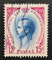 MCO0424U - Prince Rainier III - 15 F Used Stamp - Monaco - 1955 - Gebruikt