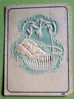 BLANCO  CARTE De NAISSANCE ANCIEN  Imprimlé En Relief / ONBEDRUKT OUD Geboortekaartje / Birth Card - Birth & Baptism