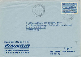 Helsinki Helsingfors 1959 - Flugzeug Überdruck - Finair - Briefe U. Dokumente