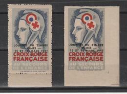 2 Vignettes Croix Rouge,Dentelé/Non Dentelé,Secours à L'Enfance,Journée Timbre Nîmes,Marianne Bonnet Phrygien,1946 - Croix Rouge