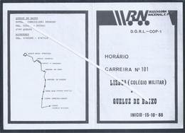 Horário Da Rodoviária Nacional De Lisboa Colégio Militar Para Queluz De Baixo De 1988. Amadora, Venda Nova, Benfica. - Europa