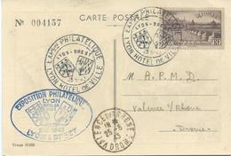 TIMBRE A 90 CT PONT DE LA GUILLOTIERE SUR CARTE EXPOSITION PHILATELIQUE LYON 1943 - 1921-1960: Période Moderne