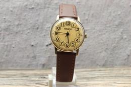 "Rare ""Circle In A Circle"" Dial RAKETA Gold Plated Mens Watch USSR. Serviced! Vintage Soviet Mechanical Watch Rocket - Orologi Antichi"