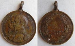 Medaglia Bronzo Alleanza Franco Sarda 1859 Napoleone III E Vittorio Emanuele II - Monarchia/ Nobiltà