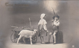 A416) Treue KAMERADEN - JUNGE SEPP Spielt FLÖTE Für Kleines Mädchen U. ZIEGE - Alt ! Fürth 1914 - Humorkaarten