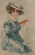 Belle Illustrée . Femme Victorienne En Bleu Avec Un éventail - Frauen