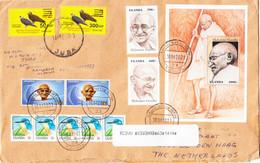 SOUTH SUDAN 2021 Cover2x Birds Overprint Stamps Via UGANDA 5x Gandhi To NL Mixed Franking Südsudan Soudan Du Sud - Zuid-Soedan