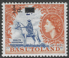 Basutoland. 1959 QEII Surcharge. ½d On 2d MH SG54 - 1933-1964 Crown Colony