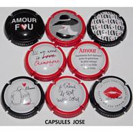 N°1158 - Série De 8 Capsules De Champagne GENERIQUE - Amour En Amalgame - Collezioni