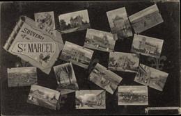 CPA Saint Marcel Eure, Montage, Souvenir, Église, Château - Other Municipalities