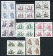 POLAND 1964 Sailing Ships II Blocks Of 4 MNH / **.  Michel 1465-72 - Unused Stamps