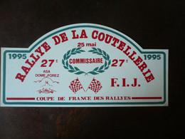 27e   RALLYE De La COUTELLERIE - 1995  - ASA DOME FOREZ- F.I.J. - Coupe De France Des Rallyes - Targhe Rallye
