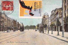 "Cp Reims Avec Vignette ""Grande Semaine D'Aviation Reims 1910"" Pour Gevrey Chambertin - Aviation"