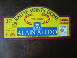 D 63 - 27ème Rallye Des MONTS DÔME - 1991 - ASA DÔME FOREZ - Clermont-ferrand - Championnat De France - Targhe Rallye