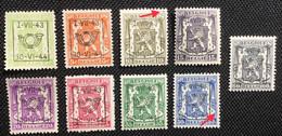 PRE502/510** MNH. + Variëteiten/ Variété 's. - Typos 1936-51 (Kleines Siegel)