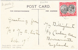 DOMINICA  Cover  - Postmarked Roseau, 17 Feb. 1934 - Postcard To England - Dominica (...-1978)