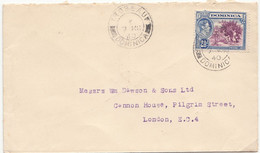 DOMINICA  Cover  - Postmarked Roseau, 7 March  1940  The 2½d Rate To England - Dominica (...-1978)