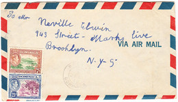 DOMINICA  Cover  - Postmarked Roseau, 19 April  1949  The 9½d Air Mail Rate To USA.  With Letter Inside. - Dominica (...-1978)