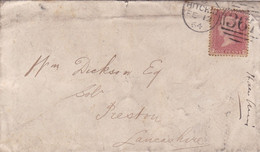 GREAT BRITAIN CIRCULATED ENVELOPE, ONE RED PENNY STAMP. YEAR 1864, HITCHIN TO PRESTON.- LILHU - Covers & Documents