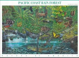 USA  3265-3274, Folienbogen, Postfrisch **, Amerikanische Naturlandschaften (II): Regenwald Der Pazifikküste, 2000 - Blocks & Sheetlets