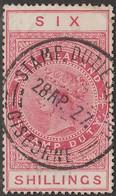 NEW ZEALAND LONGTYPE REVENUE 6s QV STAMP DUTY GISBORNE CXL - Used Stamps