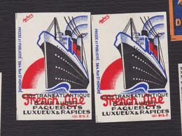 Ancienne étiquette Allumettes France F28 Transatlantique French Line Bateau Années 30 - Matchbox Labels