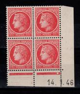 Coin Daté YV 676 N** Ceres De Mazelin Du 14.1.46 , 1 Point - 1940-1949