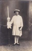AK Foto Mädchen Mit Kerze - Kommunion - Atelier Obermaier, Donauwörth - Ca. 1910  (58001) - Comuniones