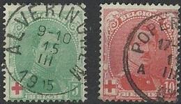 België   Belgique 1914  Nr 129/130  Rode Kruis  Gestempeld - 1914-1915 Red Cross