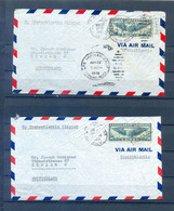 UNITED STATES 2 COVERS CIRCULED TO SWITZERLAND BY TRANSATLANTIC CLIPPER - Postal History
