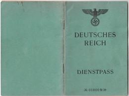 GERMANY Service Passport 1944 Passeport De Service - Dienstpass - Reisepass - Deutsches Reich - Documents Historiques