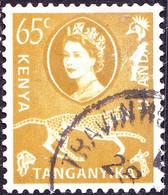 KENYA UGANDA TANGANYIKA 1960 QEII 65c Yellow-Green SG191 FU - Kenya, Uganda & Tanganyika